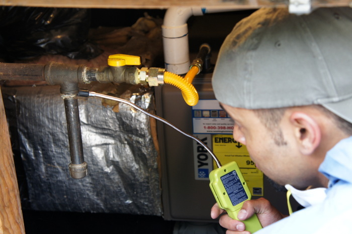 checking combustion system for gas leaks