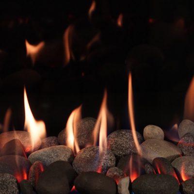 Grey river rocks fireplace insert seattle