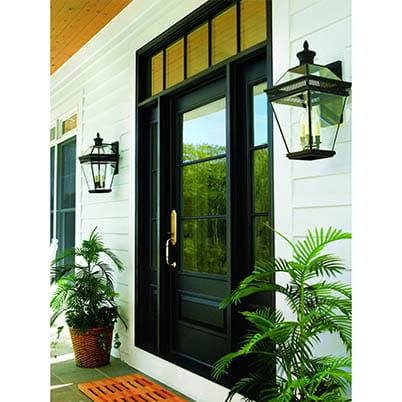 black window framed door grand entrance