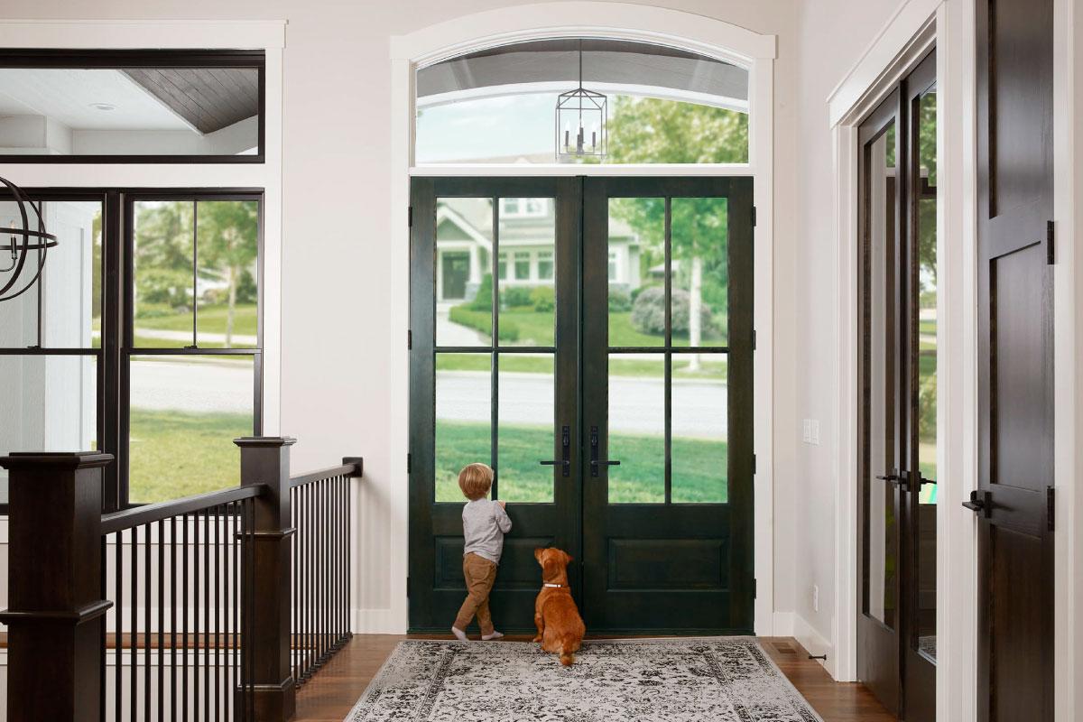 Black framed entry door system installer
